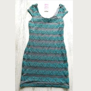 Bodycon Dress Lace Smoked Pearl Mod Gray Striped